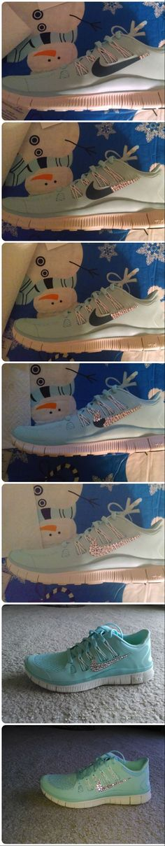 Bedazzled some new Nike shoes using Swarovoski crystals and glue.  They turned out awesome!!