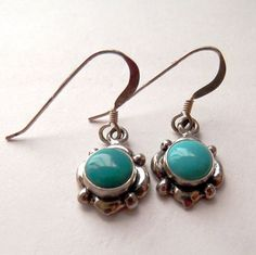 Sterling Silver and Turquoise Tiny Earrings by LaBelleBead on Etsy