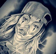 ❗ Chicano Art Tattoos, Chicano Drawings, Art Drawings, Chicano Love, Cholo Art, Prison Art, Lowrider Art, Drawn Art, Clown Faces