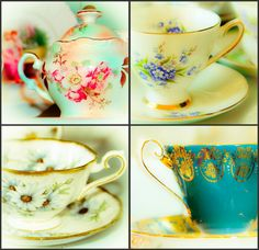 Vintage English Tea Set, Photography Collection, Teacups, China, England, Sugar Bowl, Floral Teacups, 4 Images, 5 x 5 Fine Art Photography