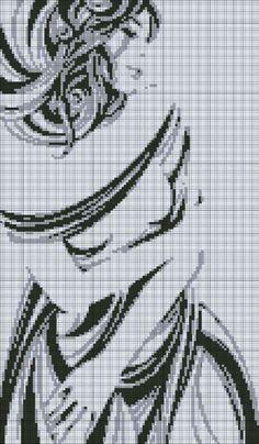 0 point de croix monochrome silhouette fille en robe - cross stitch silhouette of a girl in dress