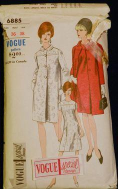 Vtg 1960s Vogue Special Design 6885 DRESS & Coat Sewing PATTERN 16/36 w/Label