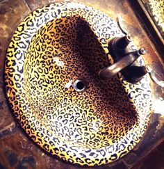 Leopard Sink at The House of Blues in LA Leopard Spots, Cheetah, Leopard Bedroom, Leopard Outfits, Residential Cleaning, Animal Magnetism, Gold Crown, Leopards, My Favorite Color