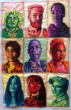 A series of miniature portraits embroidered from photos I have taken for the cover of Queer Africa This project has such an amazing energy because how different each person has been, yet all all them are equally excited to be apart of the process. Portrait Embroidery, Embroidery Art, Embroidery Patterns, Miniature Portraits, Textiles Techniques, Thread Art, Art World, Painting Inspiration, Textile Art