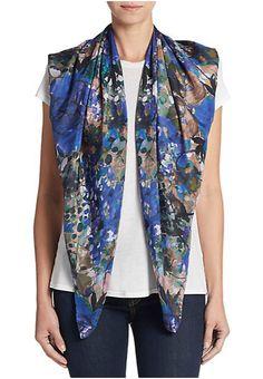 Saks Fifth Avenue   Floral Patterned Silk Scarf   SAKS OFF