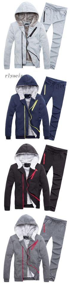 Rlyaeiz Sporting Suits Men Tracksuit Oblique Zipper Hooded Hoodies + Pants Sets 2017 Autumn Winter Casual Fleece Warm Sportswear