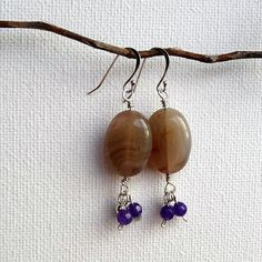 Lovely Persian gulf agate and purple amethyst earrings. by skiesandsparkles