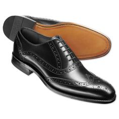 Black contemporary calf brogue shoes | Men's business shoes from Charles Tyrwhitt, Jermyn Street, London