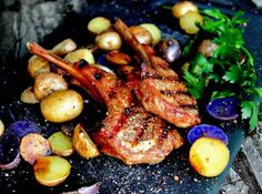 Herb Spice Grilled Lamb Chops with Roasted Peruvian Potatoes . A Bachelor His Grill Grilled Steak Recipes, Grilling Recipes, Cooking Recipes, Peruvian Potatoes, Cumin Lamb, Grilled Lamb Chops, Healthy Cleanse, Vegetable Curry, Lamb Recipes