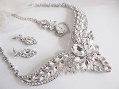 Silver tone Bridal Statement Necklace Set, Wedding Jewelry Set, Vintage Inspired Necklace, Rhinestone Necklace, Bridal Necklace by weddingswithflair on Etsy