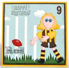 Stampin' Up! Hawthorn AFL Punch Art Birthday Card #stampinup #AFL #football #aflfootballcard #footballcard #hawthornfootballclub #birthdaycard #happycelebrations #confetticelebration #liftmeup #bigshot #customorder #punchart