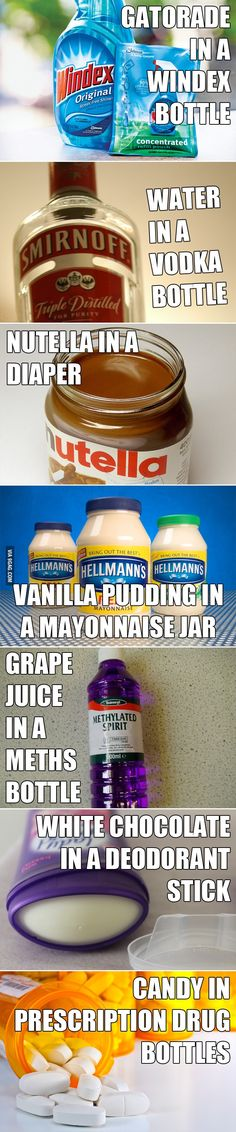 Crazy things to eat and drink in public. TOTALLY doing one of these for work on April Fools Day - perhaps eating vanilla pudding out of a mayo jar during my lunch break. ;D (Also - white chocolate deodorant? GENIUS!)