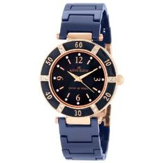 Anne Klein Women's 109416RGBL Swarovski Crystal Rosegold-Tone and Blue Ceramic Bracelet Watch (Watch) | click image for more information or to buy it