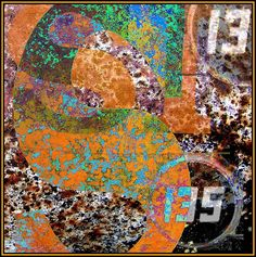 Abstract composed of numbers and graphics seen on farm machinery
