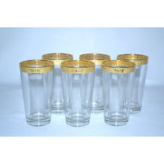 Sip delicious wine in style with this attractive Hi-Ball glass set. This 6-piece set is made of glass with a 14-karat Gold finish for an elegant look.