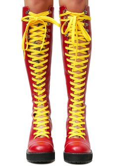 Current Mood Victoria Lacing Boots but you could neva be tied down. These red vegan leather knee high boots have a lace-up front N' back with a chunky heel and comes with two sets of laces. #dollskill #currentmood #newarrivals #platforms #heels #newshoes