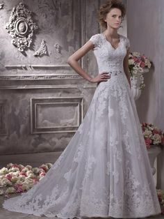 A-Line Lace And Tulle Over Satin V-Neck Sweep Hall Wedding Dresses With Appliques