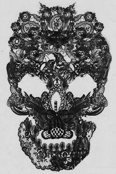 Black skull lace