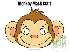 These cute and FREE baby monkey face masks areis perfect for kids of all ages. There's hours of playtime with our full colored and monkey mask coloring sheet! Safari Theme Birthday, Monkey Birthday Parties, Kids Prints, Baby Prints, Monkey Template, Safari Animal Crafts, Animal Mask Templates, Snake Crafts, Monkey Mask