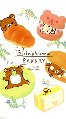 Rilakkuma Wallpaper, Sanrio Wallpaper, Kawaii Wallpaper, Cartoon Wallpaper, Iphone Wallpaper, Cute Food Drawings, Kawaii Drawings, Kawaii Doodles, Kawaii Art