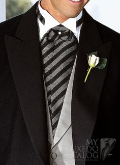 grey mens suit with a black ascot | The Top Source for formal menswear
