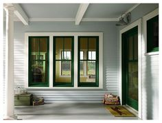 400 Series Windows and Patio Door with Exterior Trim by Andersen Windows Farmhouse Windows, Farmhouse Homes, Farmhouse Style, American Farmhouse, Craftsman Windows, Farmhouse Trim, Cottage Style, Country Style, Exterior Trim