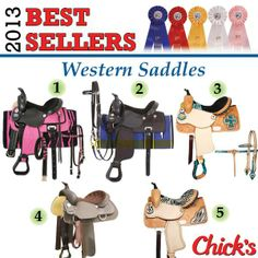 Western Saddles 1. King Series Synthetic Western Zebra Saddle Package: www.chicksaddlery.com/page/CDS/PROD/KSZ410 2. King Series Synthetic Western Trail Saddle Package: www.chicksaddlery.com/page/CDS/PROD/KS4130 3. Double T Barrel Saddle With Colored Zebra Print Set: www.chicksaddlery.com/page/CDS/PROD/DT6440 4. Wintec Synthetic Western Saddle Full Quarter Horse Bars: www.chicksaddlery.com/page/CDS/PROD/195501 5. Double T Zebra Barrel Saddle: www.chicksaddlery.com/page/CDS/PROD/TT6387
