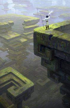Art by Kaz. Adventurer faces a dream-like, puzzling fantasy landscape. How will he navigate it? - Adventurer Art dreamlike faces fantasy - Art by Kaz. Adventurer faces a dream-like, puzzling fantasy landscape. How will he navigate it? Fantasy Artwork, Fantasy Concept Art, 3d Fantasy, Fantasy Places, Fantasy Setting, Fantasy Kunst, Fantasy Landscape, Fantasy World, Landscape Art