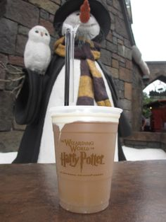 Non-alcoholic, but cheers to a Butterbeer in the Wizarding World of Harry Potter, at Universal Resort Orlando's Islands of Adventure.