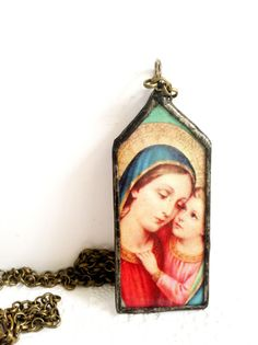 Mary Mother of God Necklace Soldered Mary Pendant Our by Mystarrrs