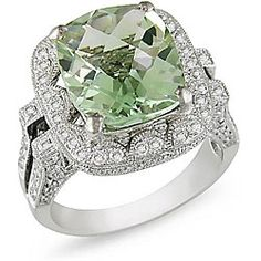 Green amethyst and diamond ring18-karat white gold  NEED THIS FOR MY BIRTHDAY   PERFECT
