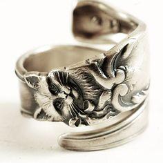 Kitty Spoon Ring Art Nouveau Sterling Silver Cat Spoon by Spoonier