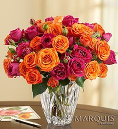 Charming Blooms in Marquis by Waterford® Vase - vibrant orange and hot pink spray #roses $59.99  #orangeroses #redroses