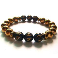 2017 1PC Gold Round Hematite Tibetan  6 Syllable Mantra Beads Stretch Bracelet Gift Box