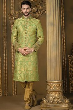 Pistachio #green and #gold khinkwab comely bandh gala #sherwani with gold chudidhar -IW336
