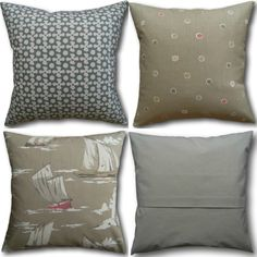Designer Cushion Covers made in Clarke & Clarke Maritime Taupe Brown Pillows Cushion Cover Designs, Cushion Covers, Clarke And Clarke Fabric, Brown Cushions, Taupe, Beige, Ankara Styles, Nautical Theme, Soft Furnishings