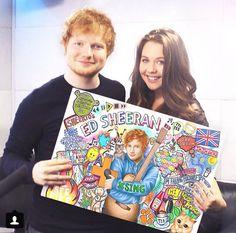 Kristina presenting her ed sheeran drawing to him
