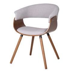 Holt Mid-century Modern Fabric and Bent Wood Accent Chair | Lovely modern natural affordable chairs. come in a darker fabric $136