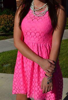 neon pink high-low dress