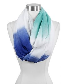 teal, blue, and white ombre infinity scarf