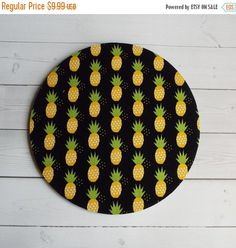 Sale  pineapples Mouse Pad mousepad / Mat  round  yellow by Laa766  chic / cute / preppy / computer, desk accessories / cubical, office, home decor / co-worker, student gift / patterned design / match with coasters, wrist rests / computers and peripherals / feminine touches for the office / desk decor