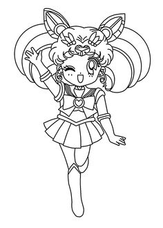 Mini Sailor moon anime coloring pages for kids, printable free