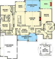 Plan Deluxe One Level European House Plan - Modern Small Modern House Plans, European House Plans, Dream House Plans, House Floor Plans, The Plan, How To Plan, Lake Tahoe, Interior Columns, Architectural Design House Plans