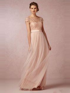 Princess Bateau Neckline Floor-Length Tulle Bridesmaid Gown With Pleats