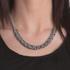 Rapt In Maille | Handmade Chainmaille Jewelry by Melissa Banks | Stainless Steel | Chicago — WOVEN Small Pattern Section Necklace