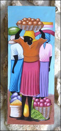 "Haitian Market Scene - Original Primative Art Painting from Haiti - Canvas Painting - Haiti Art - 12"" x 30"" - P-1082 on Etsy, $39.95"
