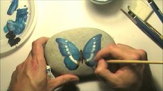 How to paint a butterfly on a sea rock | Speed painting video tutorial