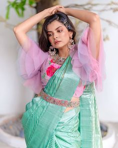 This season ruffle sleeves and bell sleeves saree blouse designs are in trend and you can't just ignore them. Take a look at some of the amazing bell sleeves and ruffle sleeves blouse designs that you can add to your wardrobe.