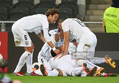 Mathias Suarez of Uruguay celebrates with team mates after scoring a goal during the FIFA U-20 World Cup New Zealand 2015 Group D match between Mexico and Uruguay at Otago Stadium on June 3, 2015 in Dunedin, New Zealand.