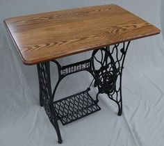 Vintage Singer Sewing Machine Treadle Table with Oak Hardwood Top — Custom Options Available - Handcrafted Decor, Furniture, Oak Hardwood, Sewing Table, Repurposed Furniture, Furniture Making, Vintage Sewing Machines, Sewing Machines Best, Sewing Machine Tables